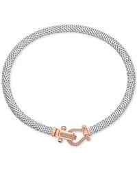 Macy's - Metallic Diamond Dew Drop Mesh Horseshoe Necklace (5/8 C.t. T.w.) In Sterling Silver & 14k Rose Gold-plate - Lyst