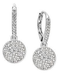Danori   Metallic Silver-tone Pave Dome Drop Earrings, Only At Macy's   Lyst