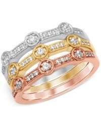 Macy's - Metallic Diamond Set Of Three Tri-color Milgrain Stackable Bands (3/8 Ct. T.w.) In 14k White, Yellow And Rose Gold - Lyst