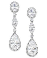Danori | Metallic Silver-tone Oval Crystal Drop Earrings | Lyst