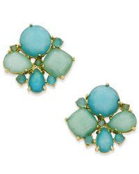 kate spade new york | Metallic Gold-tone Aqua Cluster Stud Earrings | Lyst