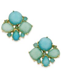 Kate Spade | Metallic Gold-tone Aqua Cluster Stud Earrings | Lyst