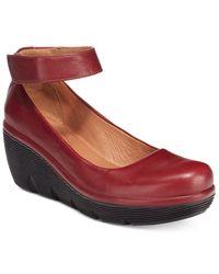 Clarks | Red Clarene Tide Ankle-strap Pumps | Lyst