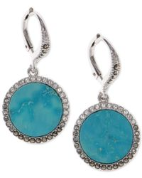 Judith Jack | Blue Silver-tone Turquoise And Crystal Drop Earrings | Lyst