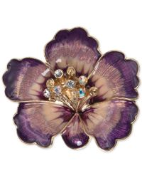 Anne Klein | Gold-tone Purple Crystal Flower Pin, A Macy's Exclusive Style | Lyst