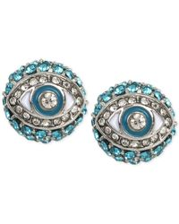 Betsey Johnson | Silver-tone Blue Crystal Eye Stud Earrings | Lyst