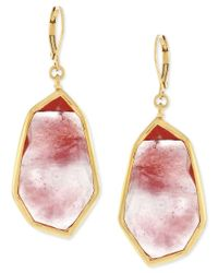 Vince Camuto | Red Rose Gold-tone Pink Stone Drop Earrings | Lyst