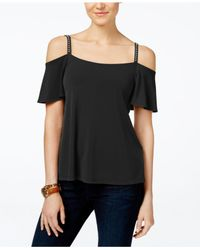 Michael Kors | Black Michael Embellished Cold-shoulder Top, A Macy's Exclusive | Lyst