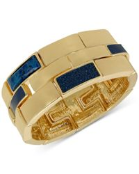 Guess - Metallic Gold-tone Denim-inspired Statement Stretch Bracelet - Lyst