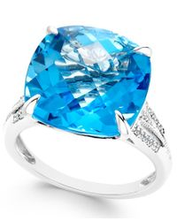 Macy's - Metallic Blue Topaz (11 Ct. T.w.) And Diamond (1/8 Ct. T.w.) Ring In 14k White Gold - Lyst