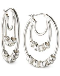 Nine West | Metallic Silver-tone Triple Hoop Earrings | Lyst