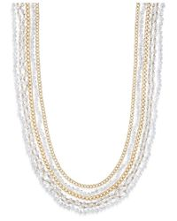 ABS By Allen Schwartz | Metallic Gold-tone Multi-row Beaded Crystal Layer Necklace | Lyst
