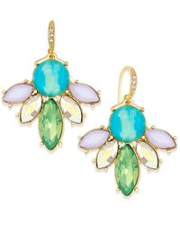 ABS By Allen Schwartz | Blue Gold-tone Multi-color Stone Drop Earrings | Lyst