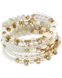 INC International Concepts - Metallic M. Haskell For Inc Gold-tone White Beaded Coil Bracelet, Only At Macy's - Lyst