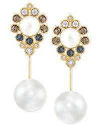 Swarovski - Metallic Gold-tone Imitation Pearl And Crystal Drop Earrings - Lyst