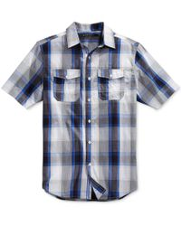 Sean John - Men's Blue Plaid Short-sleeve Shirt for Men - Lyst
