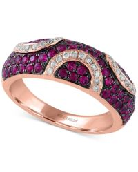 Effy Collection | Metallic Rosa By Effy Ruby (7/8 Ct. T.w.) And Diamond (1/5 Ct. T.w.) Pave Pattern Ring In 14k Rose Gold | Lyst