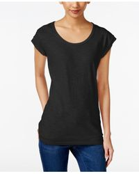 Style & Co. | Black Chiffon-trim T-shirt, Only At Macy's | Lyst