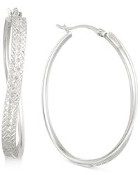 Macy's | Metallic Textured Wavy Oval Hoop Earrings In 14k White Gold Over Sterling Silver | Lyst