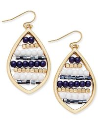 INC International Concepts | Blue Gold-tone Navy And White Beaded Drop Earrings, Only At Macy's | Lyst