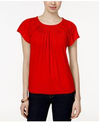 Style & Co. | Red Pleated-neck Top | Lyst