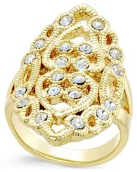INC International Concepts | Metallic Gold-tone Filigree Crystal Statement Ring, Only At Macy's | Lyst