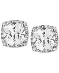 Betsey Johnson | Metallic Silver-tone Square Crystal And Pave Stud Earrings | Lyst