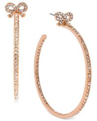 Betsey Johnson | Metallic Rose Gold-tone Crystal Bow Hoop Earrings | Lyst