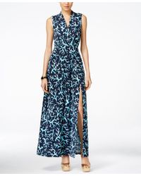 Michael Kors - Blue Michael Petite Printed Front-slit Maxi Dress - Lyst