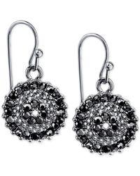 2028 | Metallic Silver-tone Dark Crystal Drop Earrings | Lyst