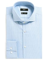 BOSS - Blue Boss Regular-fit Cotton Dress Shirt for Men - Lyst