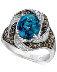 Le Vian | Chocolatier Blue Topaz (2-5/8 Ct. T.w.) And Diamond (3/4 Ct. T.w.) Statement Ring In 14k White Gold | Lyst