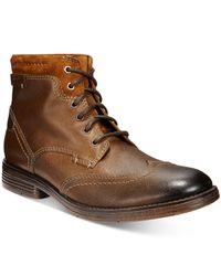 Clarks   Brown Men's Devington Hi Wing-tip Boots for Men   Lyst