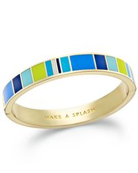 "kate spade new york | Metallic Gold-tone ""make A Splash"" Enamel Striped Hinge Bangle Bracelet 