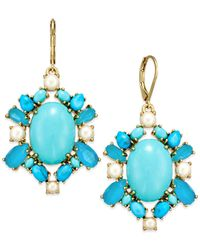 kate spade new york | 14k Gold-plated Blue Bead And Imitation Pearl Drop Earrings | Lyst