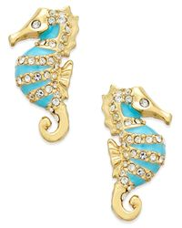 kate spade new york - Metallic 14k Gold-plated Pave And Blue Enamel Seahorse Stud Earrings - Lyst
