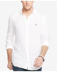 Polo Ralph Lauren - White Men's Big & Tall Linen Estate Shirt for Men - Lyst