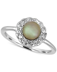Majorica | Metallic Sterling Silver Imitation Pearl And Crystal Ring | Lyst