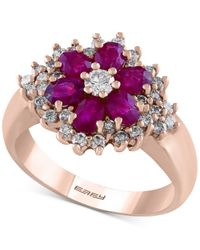 Effy Collection | Pink Effy Final Call Ruby (1-3/8 Ct. T.w.) And Diamond (5/8 Ct. T.w.) Flower Ring In 14k Rose Gold | Lyst