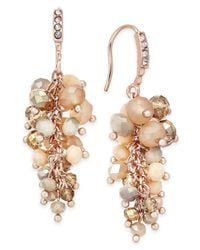INC International Concepts | Metallic Gold-tone Mauve Stone And Crystal Cluster Drop Earrings, Only At Macy's | Lyst
