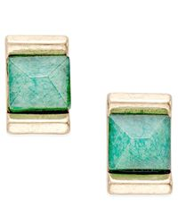 INC International Concepts - Gold-tone Green Stone Square Stud Earrings, Only At Macy's - Lyst