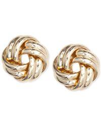Anne Klein   Metallic Gold-tone Knot Stud Earrings   Lyst