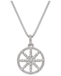 Thomas Sabo - Metallic Karma Beads Cubic Zirconia Pave Wheel Of Karma Pendant Necklace In Sterling Silver - Lyst