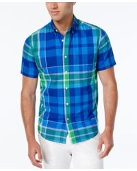 Tommy Hilfiger - Blue Men's Big & Tall Carmalee Plaid Short-sleeve Shirt for Men - Lyst