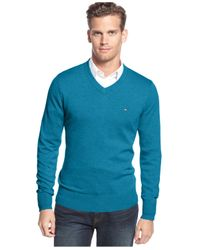 Tommy Hilfiger   Multicolor Signature Solid V-neck Sweater for Men   Lyst