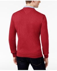 Tommy Hilfiger - Red Signature Solid V-neck Sweater for Men - Lyst