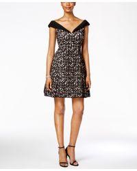 Xscape - Black Off-the-shoulder Laser-cutout Fit & Flare Dress - Lyst