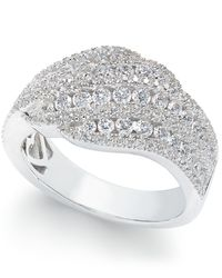 Arabella | Metallic Swarovski Zirconia Diagonal Cluster Statement Ring In Sterling Silver | Lyst