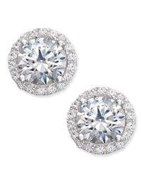 Arabella | Metallic Swarovski Zirconia Halo Stud Earrings In Sterling Silver, Only At Macy's | Lyst