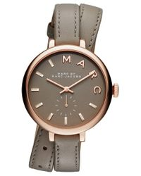 Marc Jacobs   Metallic Women's Sally Taupe Double Wrap Leather Strap Watch 36mm Mbm8661   Lyst